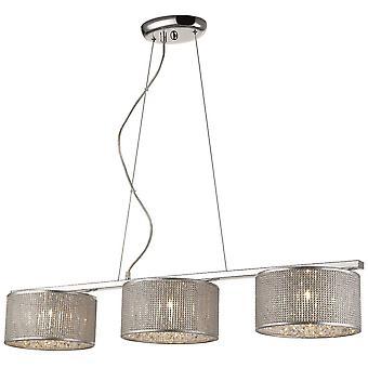 3 Light Ceiling Pendant Silver, G9