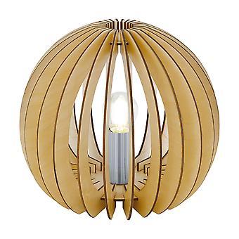 Eglo Cossano - 1 lampe de table légère Satin Nickel avec ombre en bois d'érable, E27