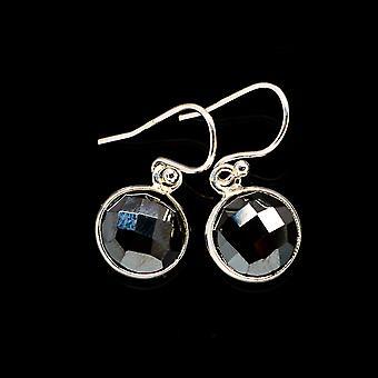 """Black Onyx Earrings 1"""" (925 Sterling Silver)  - Handmade Boho Vintage Jewelry EARR405835"""