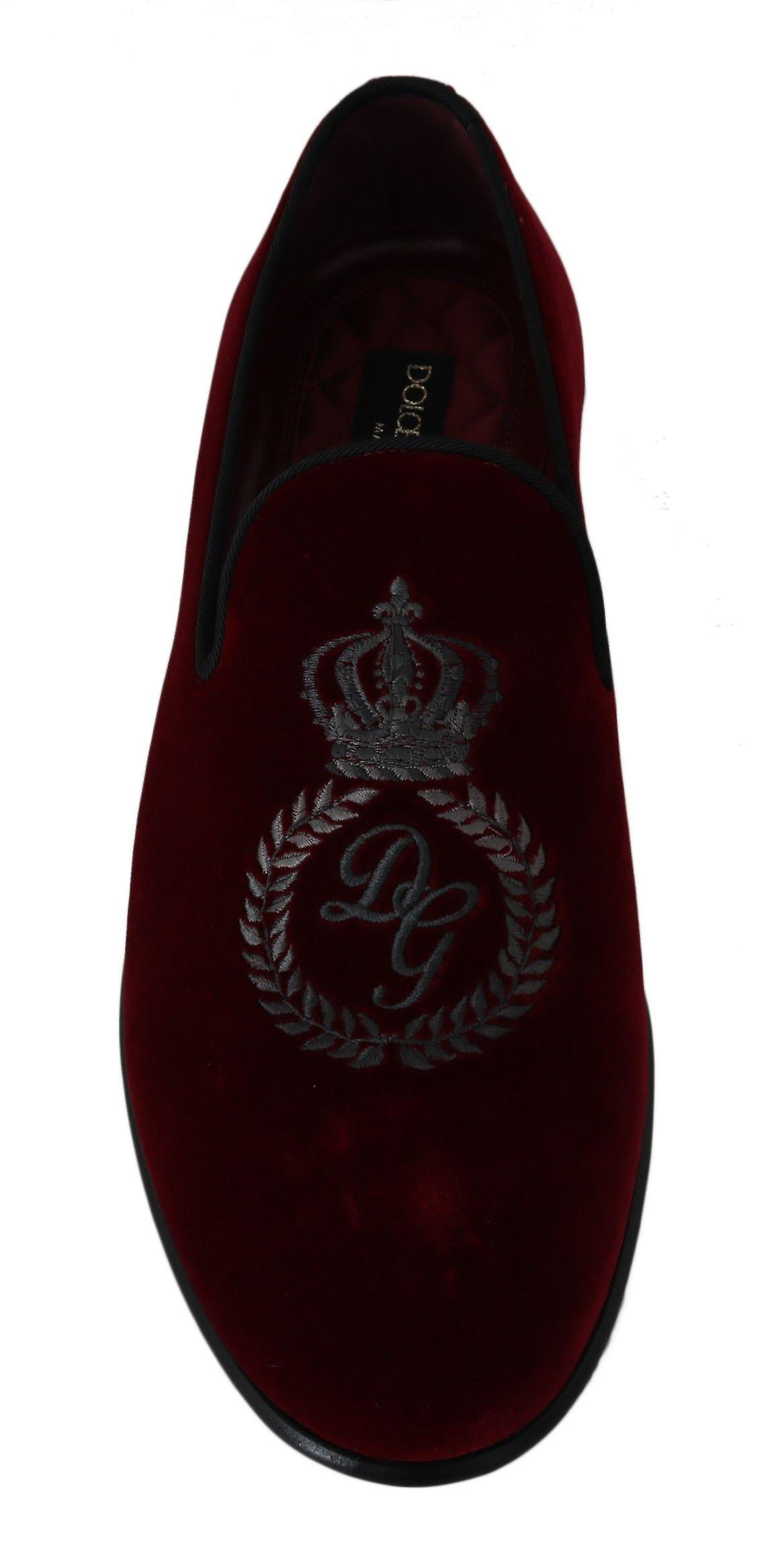 Dolce & Gabbana Red Velvet Crown Embroidered Loafers  Shoes -- MV23064944