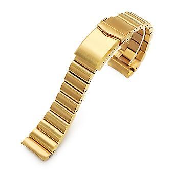 Bracciale orologio Strapcode 22mm bandoleer 316l banda di orologio in acciaio inox per seiko nuove tartarughe srpc44, full ip oro v-clasp