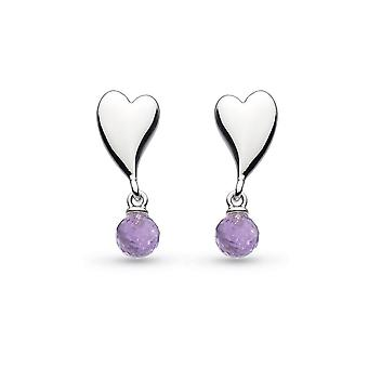 Kit Heath Desire Kiss Crush Mini Heart With Amethyst Briolette Stud Boucles d'oreilles 50PKAM028