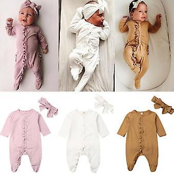 Nyfödda babykläder långärmad rufsa solid bomulls romper jumpsuit+pannband