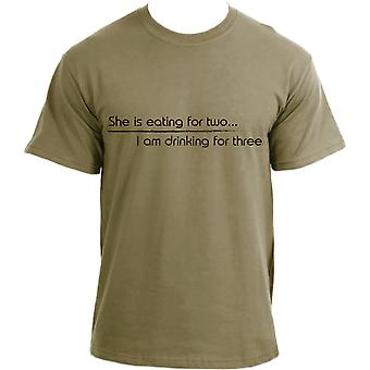 She's eating for two I'm drinking for three T-shirt | New dad short sleeve T shirt for men