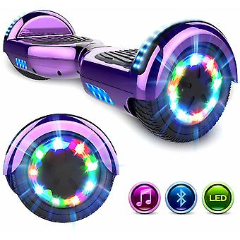 Right Choice Hoverboard Self Balanced Electric Scooter - eingebaute Bluetooth Lautsprecher - LED Wheel-Chrome purple