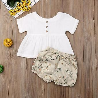 Emmababy Summer Infant Baby Girl, Newborn Cotton Linen Outfit Set- Mode