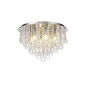 Penny Ceiling, 6 Light E14, kiillotettu kromi/kristalli
