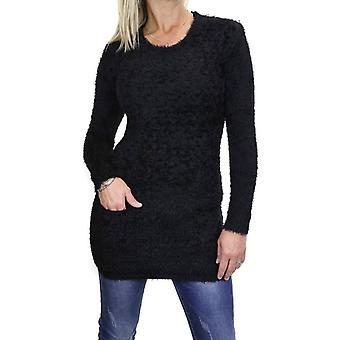 Women's Soft Fluffy Textured Round Neck Knit Jumper Long Sleeeve Stretch Pullover With Pockets Solid Colour 6-16