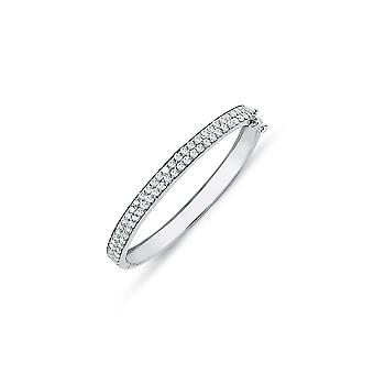 Jewelco London Girls Rhodium Plated Sterling Silver Round Cubic Cyrkonia Double Row Eternity Bransoletka bransoletka 5mm