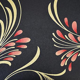HMQZ Black Gold Red Floral