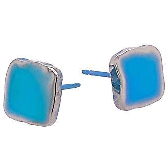 Ti2 Titanium Squashed 8mm Square Stud Earrings - Kingfisher Blue