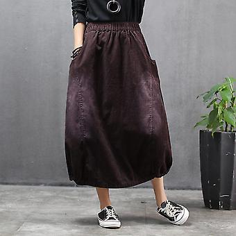 Saia de veludo de algodão primavera mulheres sólida vintage midi fêmea outono breve bud