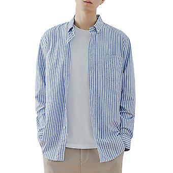 Yunyun Men's Striped Fashion Lapel Long Sleeve Button Casual Top Blouse Shirt