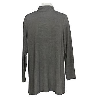 Lisa Rinna Collection Women's Plus Top Mock Neck Long Sleeve Gray A297333