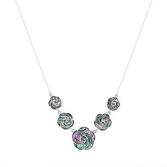 Colar de Flores de Aden 925 Sterling Silver Abalone Mother-of-Pearl Flowers (id 4154)