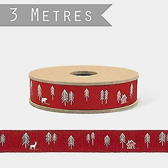 Öster om Indien röd och vit skog Christmas band 3 M rulle hantverk