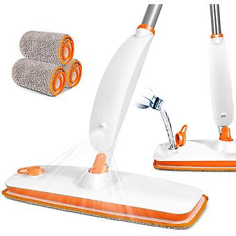 Reusable Microfibre Pad Bottom Water Spray Mop with 4 Pieces of Cloth - Any Floor Cleaning
