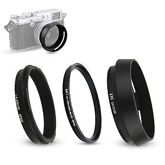 Lens hood and adapter ring fits for fujifilm fuji x100v x100f, x100t, x100s, x100, x70 replaces fuji