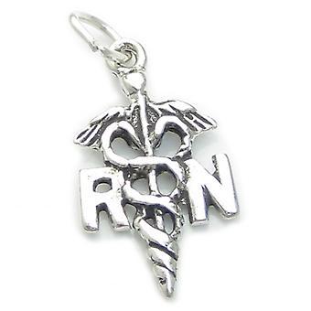 Rn Registered Nurse Sterling Silver Charm .925 X 1 Nursing Charms - 2167