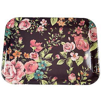Tablett Rosen schwarz/rosa 23x17 cm