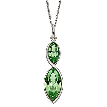 Fiorelli Silver Womens 925 Sterling Silver Rhodium Plated Peridot Green Crystal Marquise Drop Pendant Necklace 41cm + 5cm