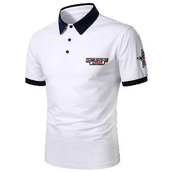 Kort ærme Polo Shirt Kontrast Color Sommer Streetwear Casual Fashion Toppe