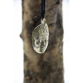 Silver Buddha Huvud Halsband på justerbar bomullssladd