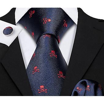 Skull Silk Tie Handkerchief Set For Wedding/groom/business