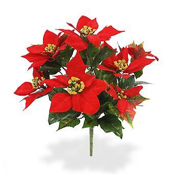 Keinotekoinen Faux Poinsettia Bouquet 40 cm punainen