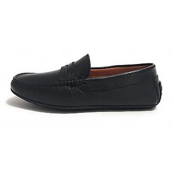 Men's Elite Moccastic Tubular Deer Leather Shoes Black Color U20el05