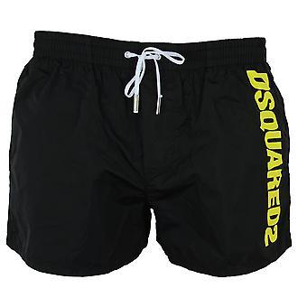 Dsquared2 men's black boxer midi swim shorts