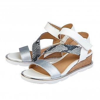 Lotus White & Snake-Print Sophia Wedge Sandals