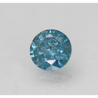 Cert 0.45 Carat Vivid Blue SI3 Round Brilliant Enhanced Natural Diamond 4.82mm