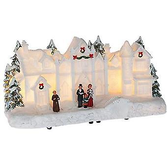 Christmas Light Up Resin White House Scene Home Decoration