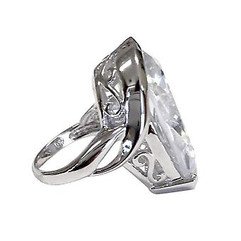 Large Teardrop Silvertone Cocktail Ring Clear Stone