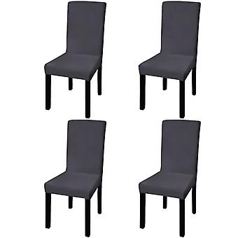 Straight Stretchable Chair Cover 4 Pcs Anthracite