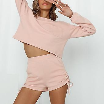 Autumn Winter O-neck Long Sleeve Crop Top And Shorts Two-piece Set