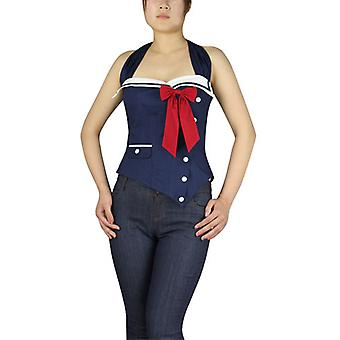 Chic Star Plus Size Pinup Sailor Corset Top In Navy
