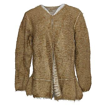 LOGO by Lori Goldstein Women's Sweater Reversible Cardigan Beige A370304