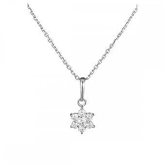 Pingente ouro branco e óxidos de zircônio - o Mensageiro Branco - cadeia de prata oferecida