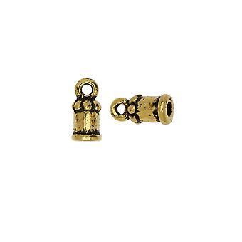 TierraCast Cord Ends, Palace Dome 10,5mm, passend für 2mm Kabel, 2 Stück, antik vergoldet