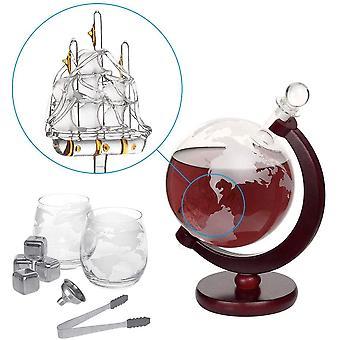 HanFei Whiskey Decanter Set Globus Karaffe 1500 ml mit 2 Gläser, Eiszange, Whiskey Steine,