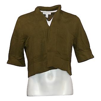 Isaac Mizrahi Live! Dames trui elleboog slv vest groen A303524