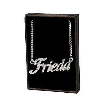 """L Frieda - 18-karaats witgoud vergulde ketting, met aanpasbare naam, verstelbare ketting van 16 """"- 19"""", in ref verpakking. 496330314799"""