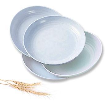 FengChun große Weizen Stroh Platten 10 Zoll, 4 Stk wiederverwendbar und unzerbrechlich Getreide Teller, Eco
