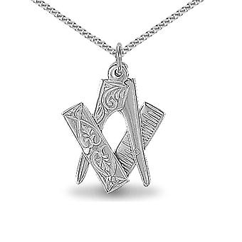 Jewelco London Sterling Silver Openning Closing Square & Compass Masonic Pendant - 18 inch Chain