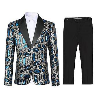 Mile Boy's Blue Sequined Single-breasted Suit Two-piece Slim Casual Suit For Party Speech Performance