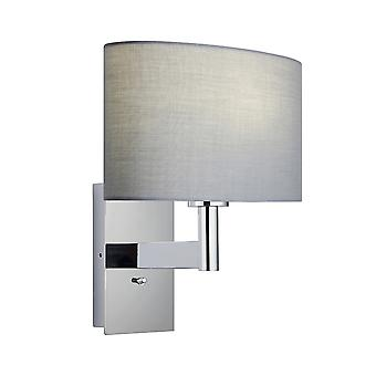 Wall Lamp Chrome Plate, Grey Fabric Oval Shade With Usb Socket