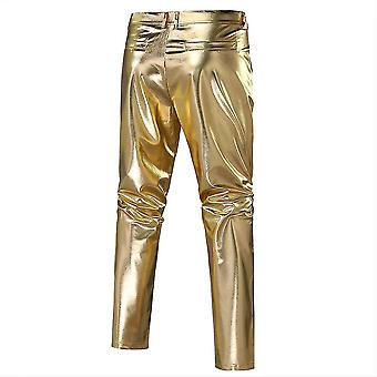 Xl gold mens casual night club metallic moto style flat front faux leather pants x4899