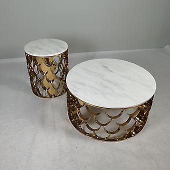 Современный свет Роскошный мрамор / стеклянный стол Top нержавеющей стали